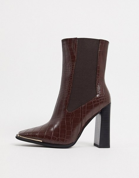 SIMMI Shoes simmi london melisa square-toe chelsea boot with gold plating in brown croc in brown