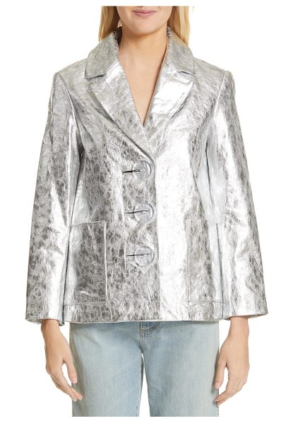 Simon Miller dawes crackled leather jacket in silver crackle - Crackled silvery leather lends rocker-chic style to a...