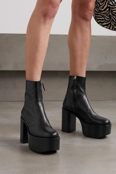 Simon Miller high raid leather platform ankle boots in black