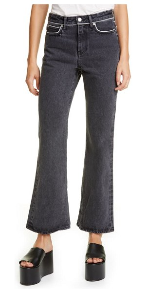 Simon Miller piping crop flare jeans in mid black wash piping