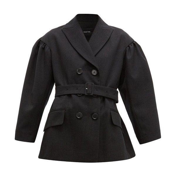 Simone Rocha double breasted belted twill blazer in black