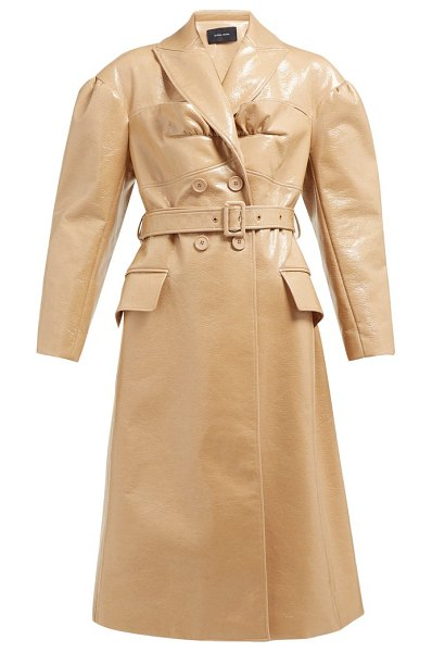 Simone Rocha double-breasted laminated wool-blend coat in camel