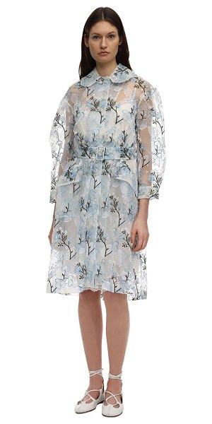 Simone Rocha Embroidered organza duster coat in ivory,blue