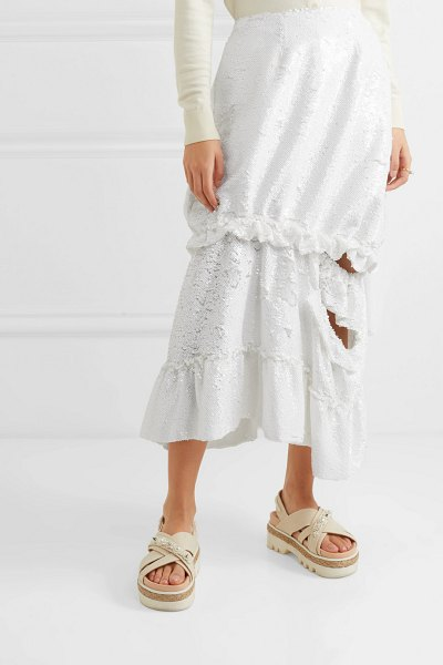 Simone Rocha gathered cutout sequined tulle midi skirt in white