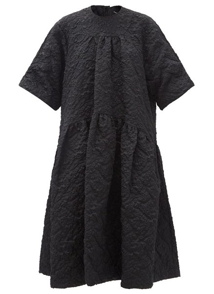 Simone Rocha oversized cloqué midi dress in black