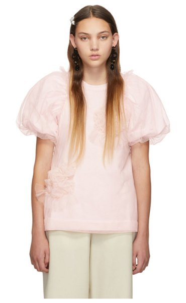 Simone Rocha ruched flowers puff sleeves t-shirt in pink