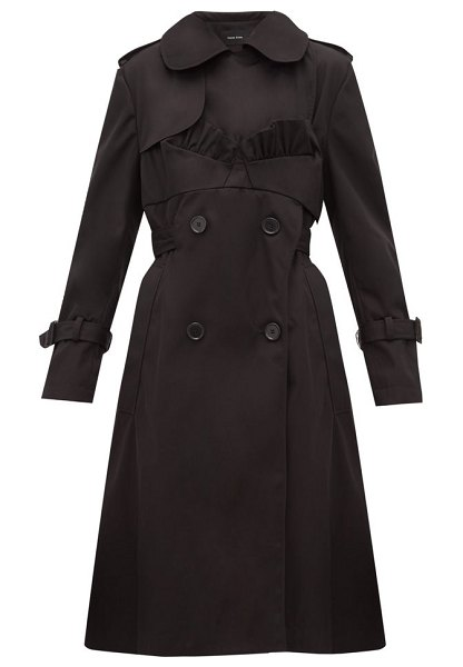 Simone Rocha ruffle trimmed belted double breasted trench coat in black