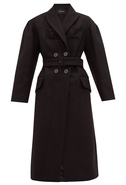 Simone Rocha ruffled double breasted wool blend coat in black