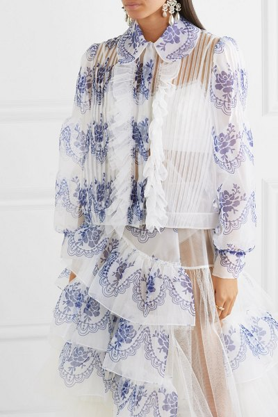 Simone Rocha ruffled printed organza bomber jacket in blue