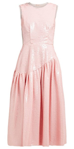 Simone Rocha sequinned tulle ruffled gathered dress in pink