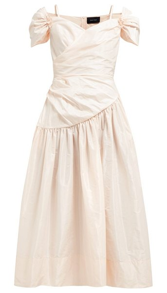 Simone Rocha sweetheart neckline taffeta midi dress in light pink