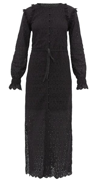 Sir amelia broderie-anglaise cotton maxi dress in black