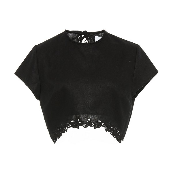SIR the label alena cropped floral-embroidered linen top in black