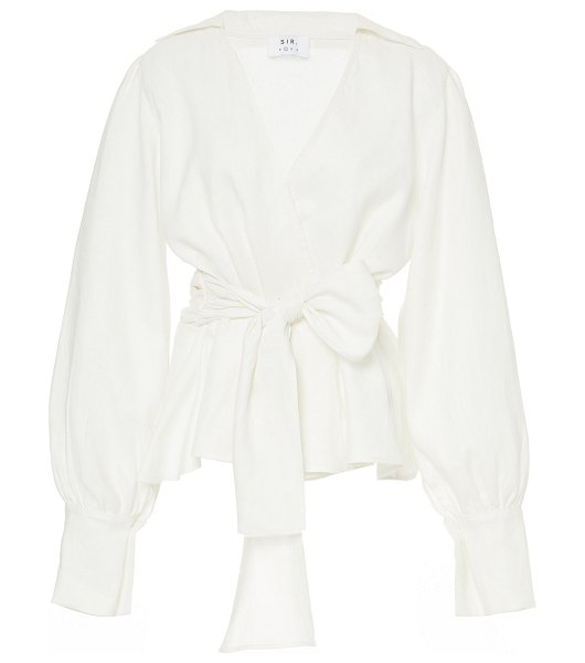 SIR the label emile tie-front linen top in white