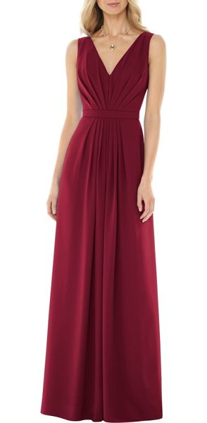 Social Bridesmaids v-neck georgette a-line gown in burgundy
