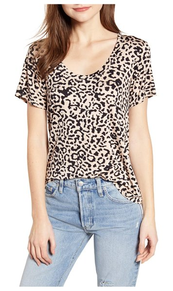 Socialite leopard print tee in sand/ black - This graphic scoop-neck tee with plenty of stylish swing...