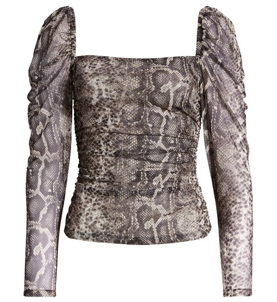 Socialite square neck mesh top in neutral snake