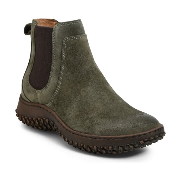 Sofft abry waterproof chelsea boot in army green suede