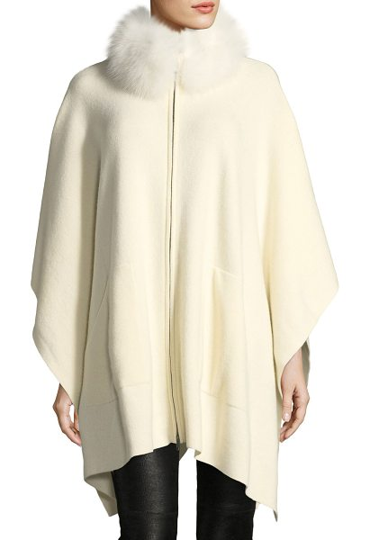 SOFIA CASHMERE Cashmere Cape w/ Fur Mock Neck - Sofia Cashmere cape in cashmere. Natural fox (Finland) trim...