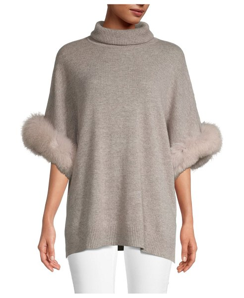 Sofia Cashmere Fox Fur Cuff Turtleneck Cashmere Sweater in beige