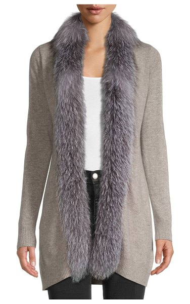 Sofia Cashmere Fox Fur-Trimmed Cashmere Cardigan Sweater in grey beige