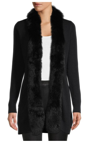Sofia Cashmere Fox Fur-Trimmed Cashmere Cardigan Sweater in black