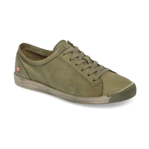 SOFTINOS BY FLY LONDON isla distressed sneaker in forest green leather - Remarkably soft fine-grain leather and a...