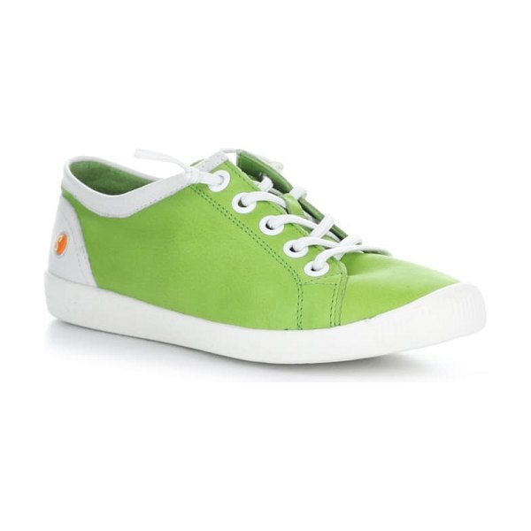 SOFTINOS BY FLY LONDON isla distressed sneaker in apple green/ white leather