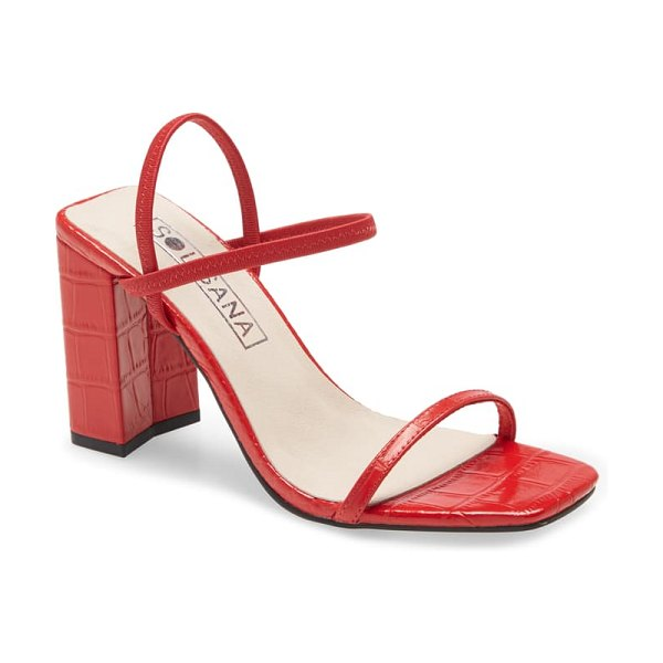 Sol Sana lily ankle strap sandal in cherry croco leather