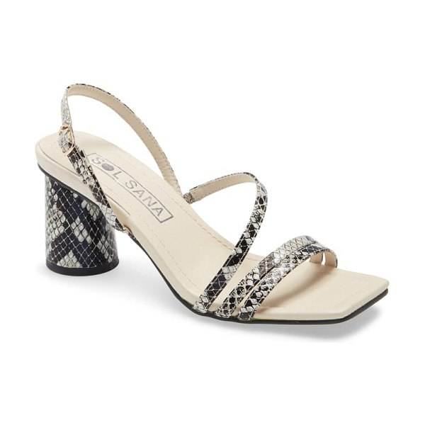 Sol Sana yole strappy sandal in snake print leather