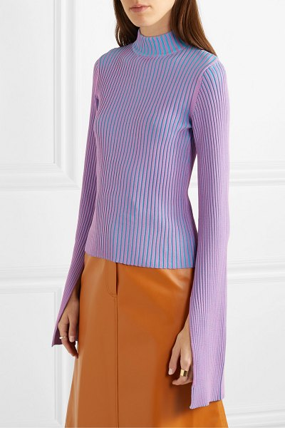 Solace London dania ribbed-knit sweater in purple