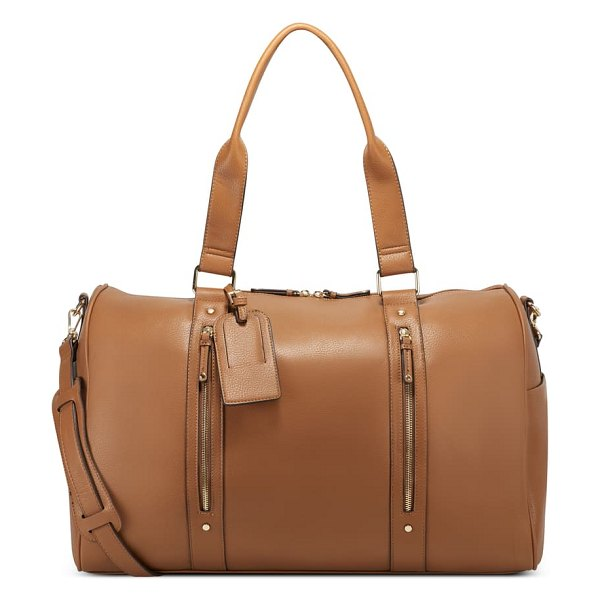 Sole Society abra faux leather duffle bag in pecan brown