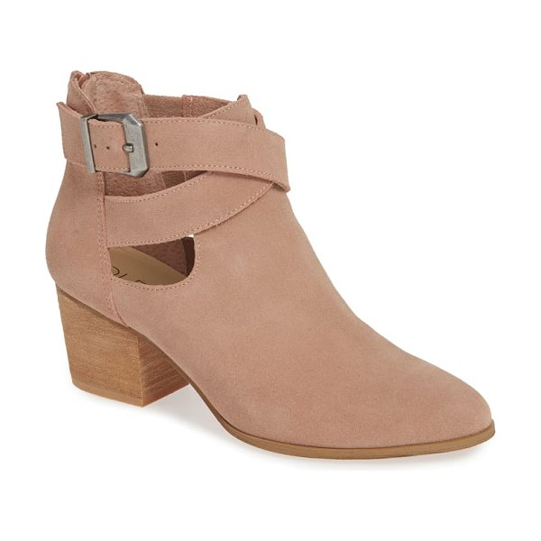 Sole Society azure bootie in pink - A wraparound buckle strap and stacked heel add subtle...