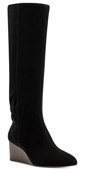 Sole Society deannah knee high wedge boot in black suede
