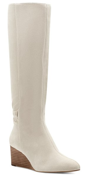 Sole Society deannah knee high wedge boot in latte suede