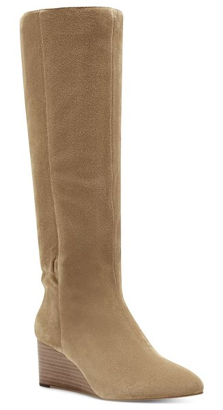 Sole Society deannah knee high wedge boot in honey suede