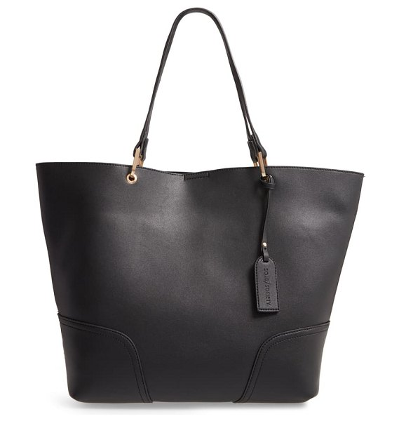 Sole Society faux leather tote in black