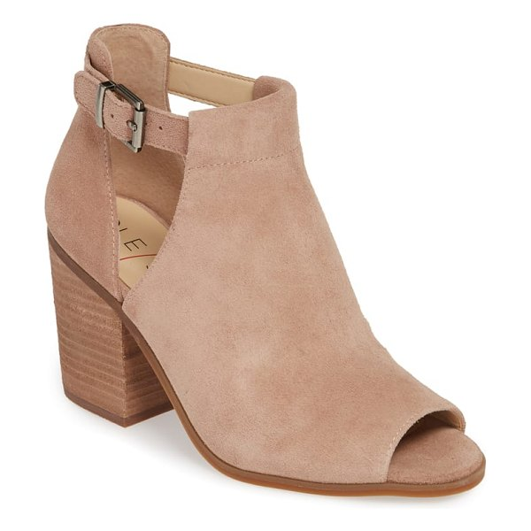 Sole Society 'ferris' open toe bootie in dusty rose suede - A fresh take on a versatile favorite, this stacked-heel...