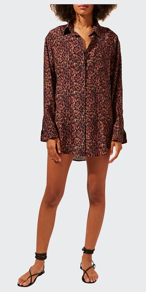 Solid and Striped The Oxford Coverup Tunic in leopard print