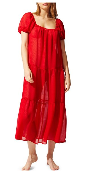 Solid and Striped the robin tiered dress in sheer red