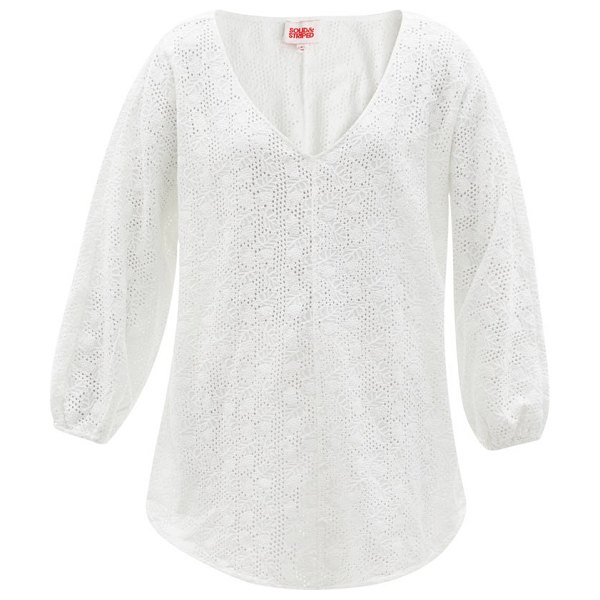 Solid & Striped the devon v-neck broderie-anglaise tunic in white