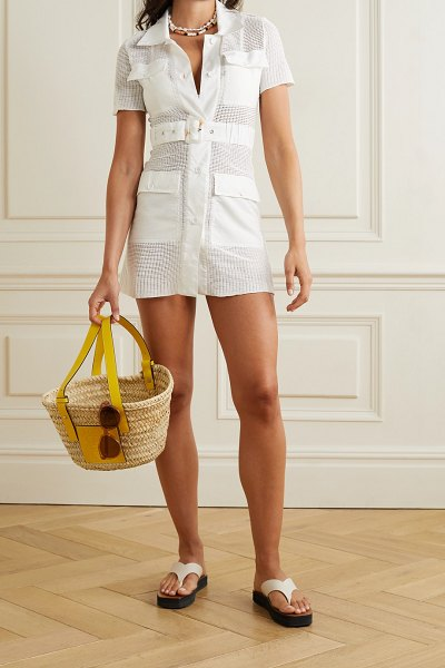 Solid & Striped the harper belted voile-trimmed open-knit mini dress in white
