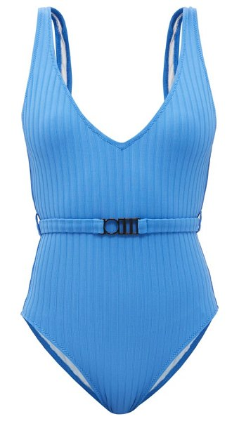 Solid & Striped the michelle belted ribbed swimsuit in blue