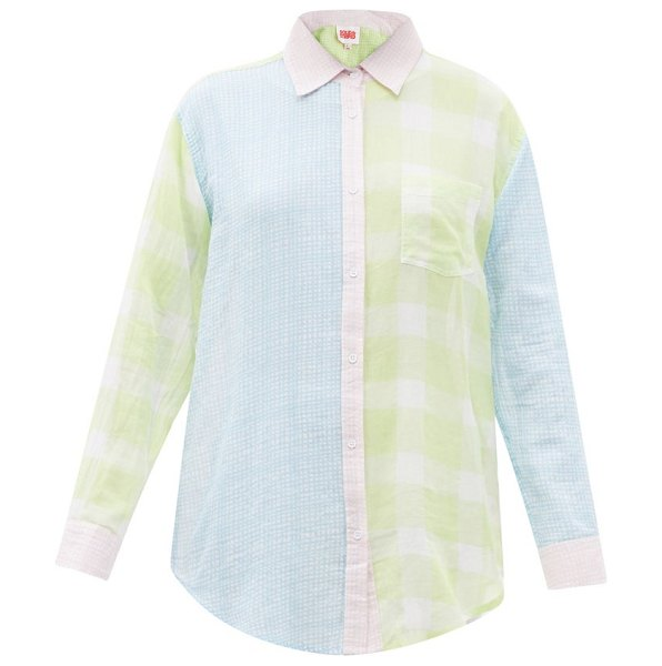 Solid & Striped the oxford patchwork checked cotton-muslin shirt in green multi