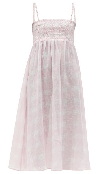Solid & Striped the willow smocked cotton-blend dress in pink
