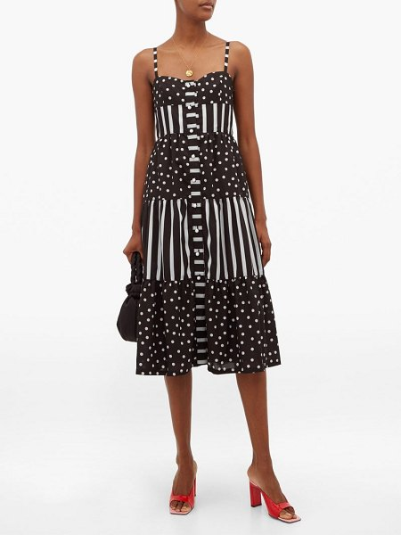 Solid & Striped tiered polka dot and striped midi dress in black white