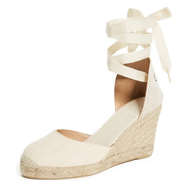 Soludos tall wedge espadrilles in blush