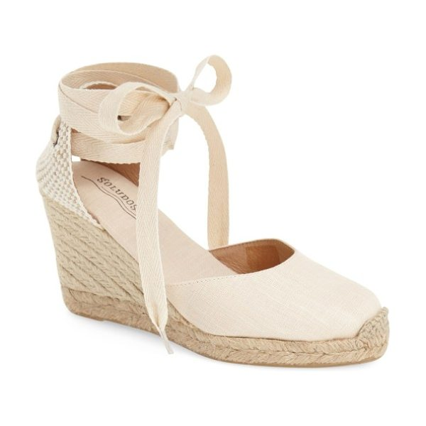 Soludos wedge lace-up espadrille sandal in blush linen