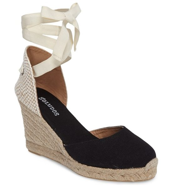 Soludos wedge lace-up espadrille sandal in black - Woven laces gracefully wrap around the ankle of a chic...