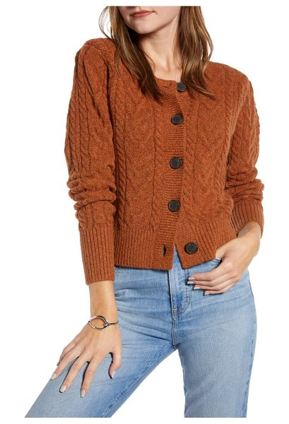 Something Navy crewneck cable cardigan in rust leather